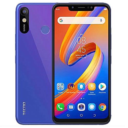 Tecno Spark 3 (KB7) 6 2-Inch HD (1GB,16GB ROM) Android 8 1 Oreo, 13MP + 8MP  Dual SIM 3G Smartphone - Aqua Blue (MW19 )